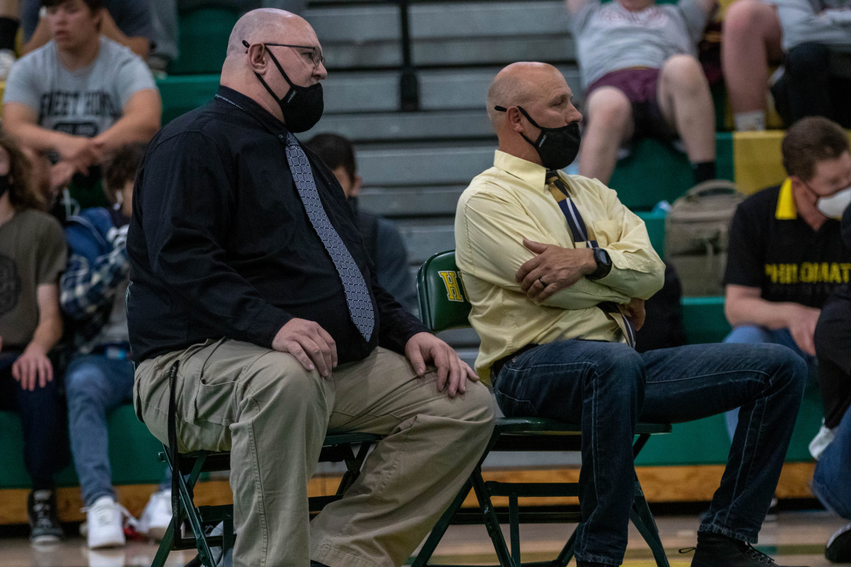 Assistant coach James Kohn and head coach Troy Woosley