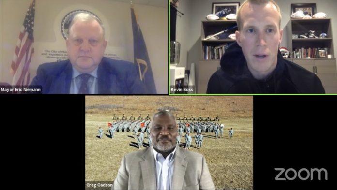 Greg Gadson, Eric Niemann, Kevin Boss on Zoom call