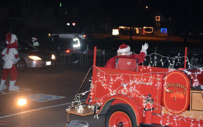 Rick Wells as Santa Claus and Corvallis Knights mascot