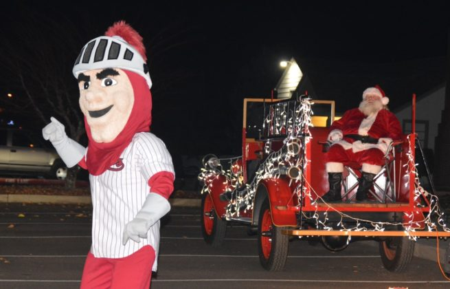 Rick Wells as Santa Claus and Corvallis Knights mascot