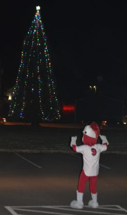 Corvallis Knights mascot with Philomath Christmas tree