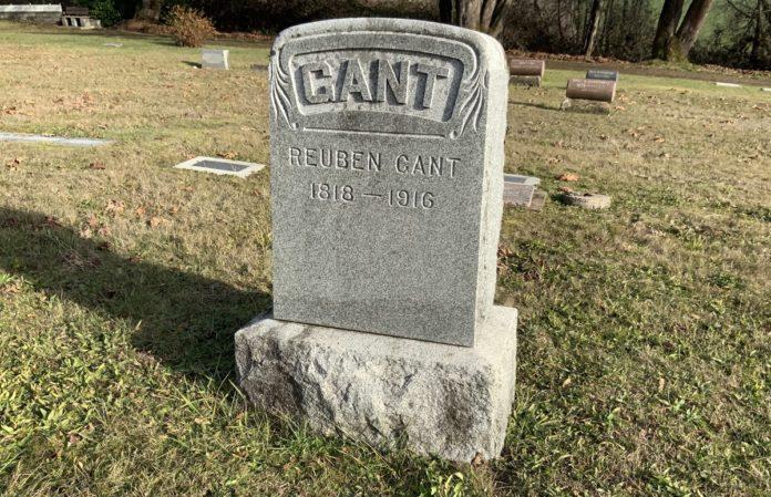 Reuben Gant's grave marker