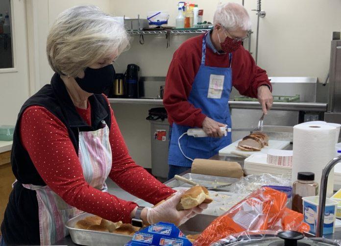 Food preparation in College United Methodist Church's kitchen