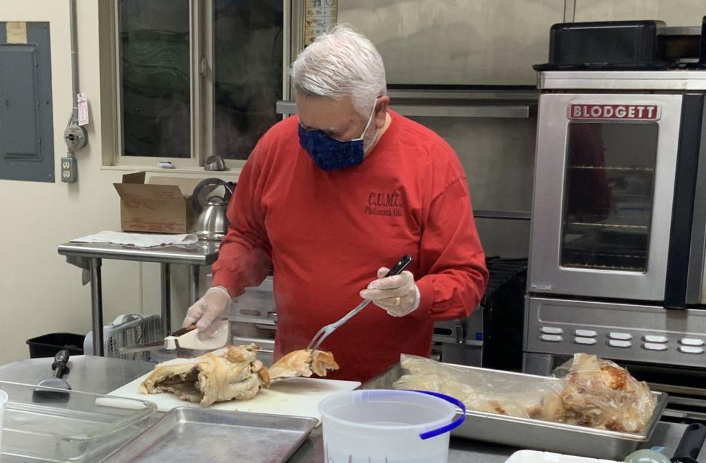 Larry Sleeman in church kitchen