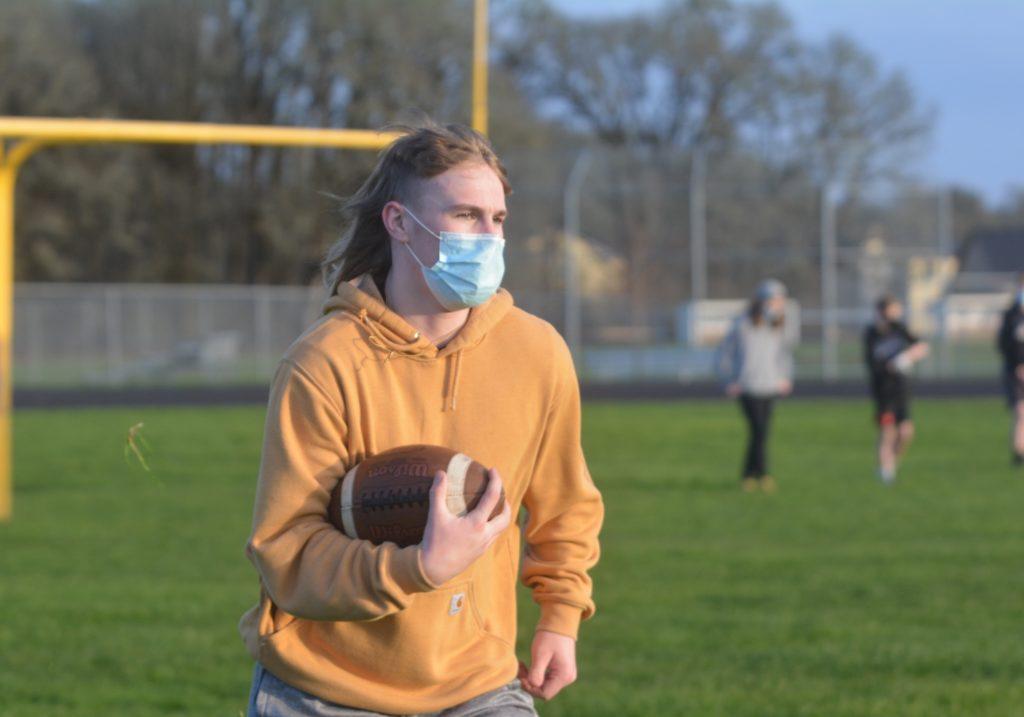 Jake Williams in football practice