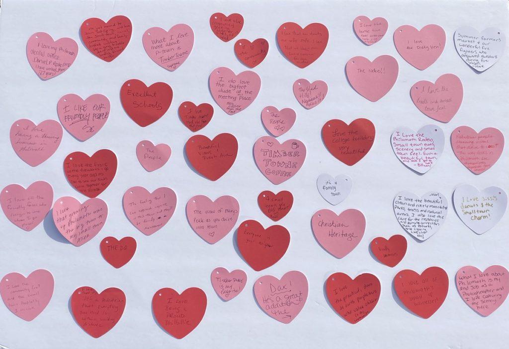 Hearts arranged on a wall