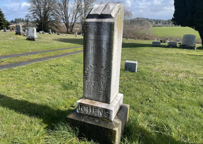 William Kriens grave marker