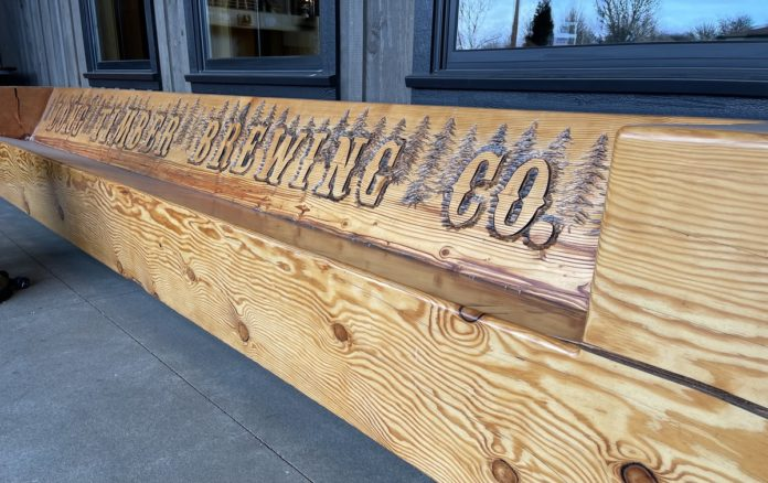 Wood bench made out of log