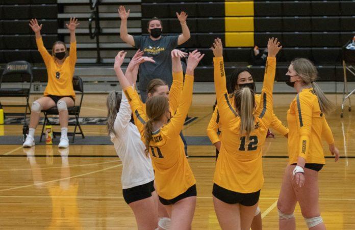 PHS volleyball team celebrates