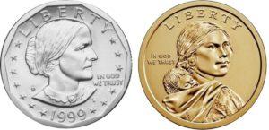 Sacajawea and Susan B. Anthony coins