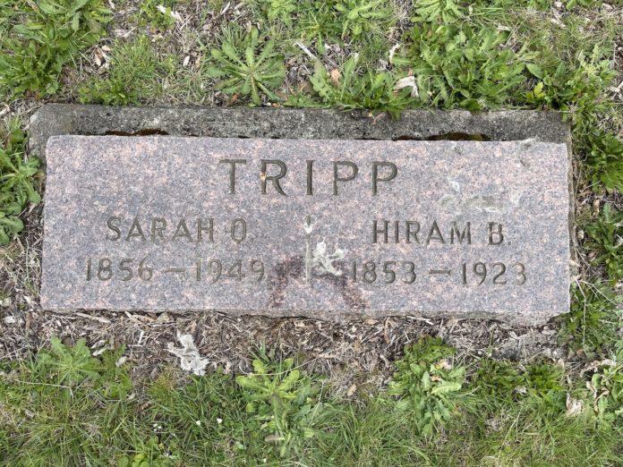 Hiram and Sarah Tripp grave marker