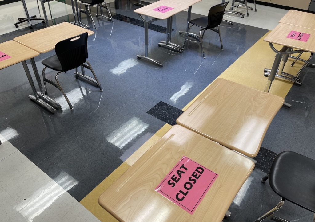 PHS classroom with COVID restrictions
