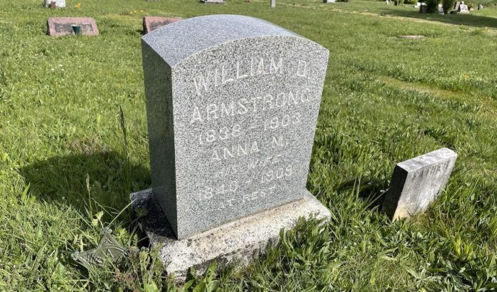 William Armstrong's grave marker
