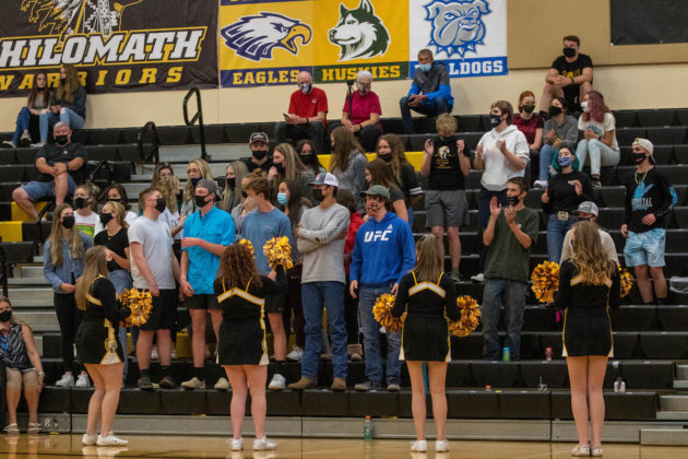 Student section, cheerleaders