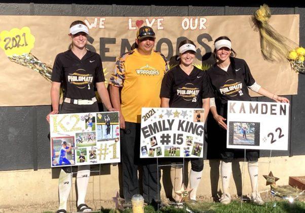 Seniors Kaili Saathoff, Emily King, Kamden Combs with Coach Travis King