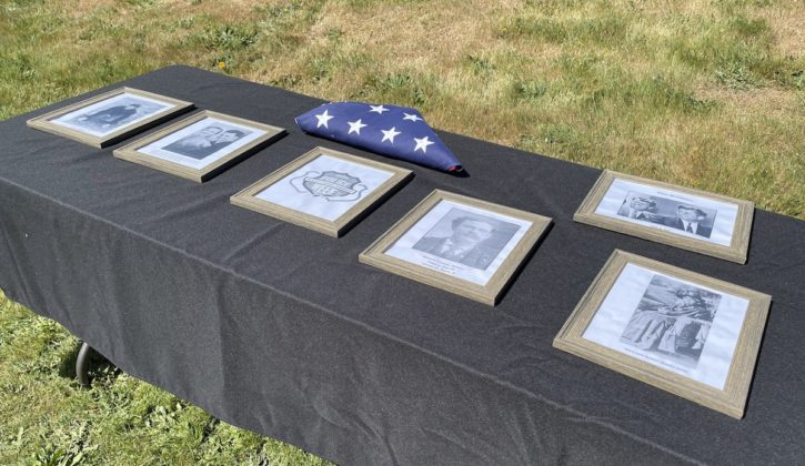 Display of photos on table