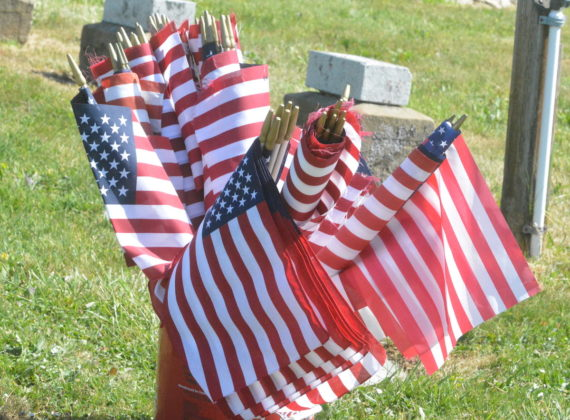 Flags in a bucket
