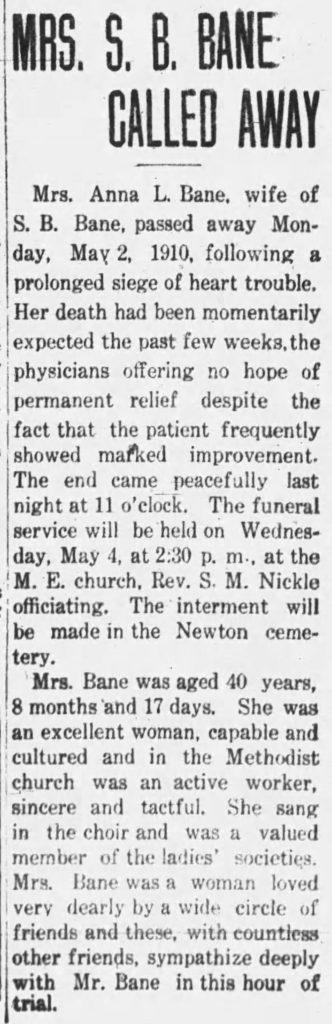 Anna Bane obituary clipping