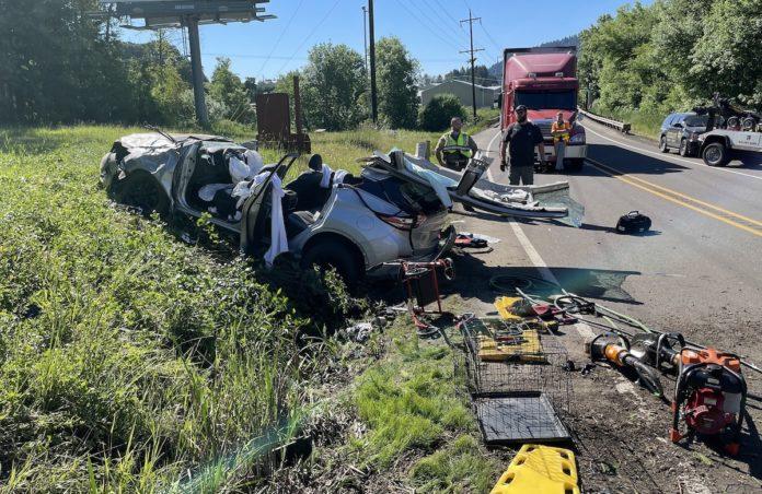 Highway 20 crash scene