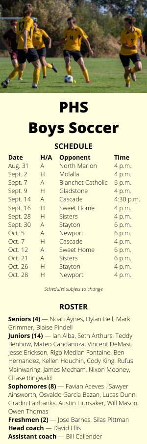 PHS boys soccer schedule and roster