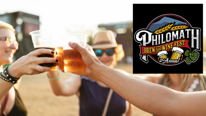 Beer drinkers with Brew & Wine Fest logo