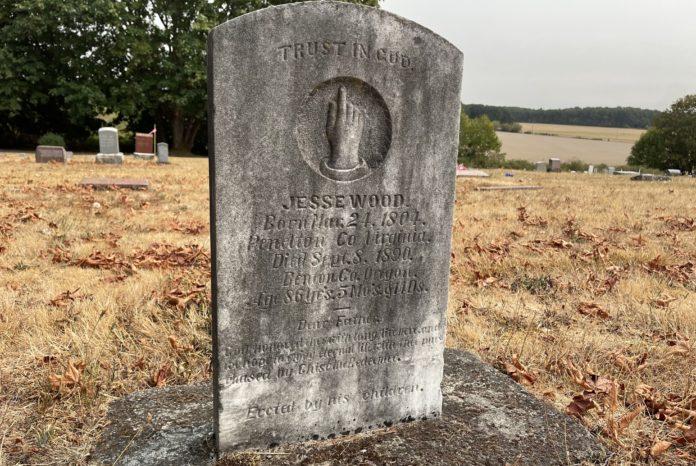 Grave marker for Jesse Wood