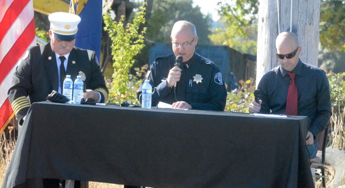 Fire Chief Tom Miller, Police Chief Ken Rueben and Mayor Chas Jones